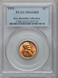 Lincoln Cents, 1951 1C MS66 Red PCGS. Ex: Ron Bozarth Collection. PCGS Population(442/12). NGC Census: (477/29). Mintage: 284,633,504. Nu...