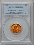 Lincoln Cents, 1957 1C MS66 Red PCGS. Ex: Ron Bozarth Collection. PCGS Population(546/5). NGC Census: (1347/130). Mintage: 283,787,968. N...