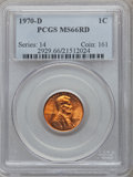 Lincoln Cents: , 1970-D 1C MS66 Red PCGS. PCGS Population (200/10). NGC Census:(134/10). Numismedia Wsl. Price for problem free NGC/PCGS c...