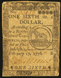 Colonial Notes:Continental Congress Issues, Continental Currency February 17, 1776 $1/6 Very Good-Fine.. ...
