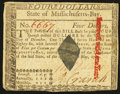 Colonial Notes:Massachusetts, Massachusetts May 5, 1780 $4 Extremely Fine.. ...