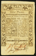 Colonial Notes:Rhode Island, Rhode Island May 1786 £3 Extremely Fine.. ...