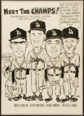 Baseball Collectibles:Others, 1959 Los Angeles Dodgers Multi Signed Original Art - WorldChampionship Season!...