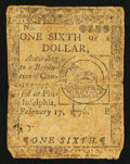 Colonial Notes:Continental Congress Issues, Continental Currency February 17, 1776 $1/6 Fine.. ...