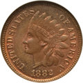 Indian Cents: , 1882 1C MS66 Red and Brown NGC. NGC Census: (14/0). PCGS Population(0/0). Mintage: 38,581,100. Numismedia Wsl. Price for p...