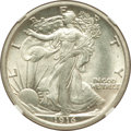 Walking Liberty Half Dollars: , 1916 50C MS63 NGC. NGC Census: (251/542). PCGS Population(288/708). Mintage: 608,000. Numismedia Wsl. Price for problemfr...