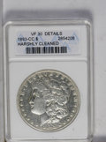 1893-CC $1 --Harshly Cleaned--ANACS. VF30 Details. NGC Census: (217/1674). PCGS Population (65/3135). Mintage: 677,000...