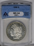 Morgan Dollars: , 1898 $1 MS64 Deep Mirror Prooflike ANACS. NGC Census: (97/35). PCGS Population (130/71). Numismedia Wsl. Price: $228. (#97...