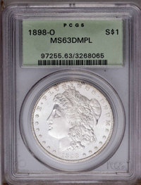 1898-O $1 MS63 Deep Mirror Prooflike PCGS. PCGS Population (164/456). NGC Census: (77/221). Numismedia Wsl. Price: $84...