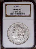 Morgan Dollars: , 1904-O $1 MS65 Deep Mirror Prooflike NGC. NGC Census: (82/7). PCGS Population (105/18). Numismedia Wsl. Price: $640. (#972...
