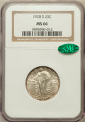 Standing Liberty Quarters: , 1928-S 25C MS66 NGC. CAC. NGC Census: (122/20). PCGS Population(147/5). Mintage: 2,644,000. Numismedia Wsl. Price for prob...
