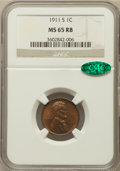 Lincoln Cents, 1911-S 1C MS65 Red and Brown NGC. CAC....
