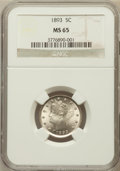 Liberty Nickels, 1893 5C MS65 NGC....