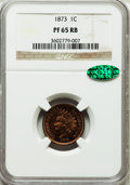 Proof Indian Cents, 1873 1C Closed 3 PR65 Red and Brown NGC. CAC....