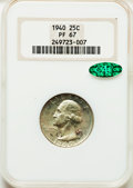 Proof Washington Quarters: , 1940 25C PR67 NGC. CAC. NGC Census: (202/21). PCGS Population(162/2). Mintage: 11,246. Numismedia Wsl. Price for problem f...