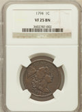 Large Cents, 1794 1C Head of 1794 VF25 NGC. S-44, B-33, R.1....