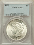 Peace Dollars: , 1935 $1 MS64 PCGS. PCGS Population (2223/944). NGC Census:(2003/802). Mintage: 1,576,000. Numismedia Wsl. Price for proble...