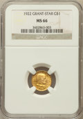 Commemorative Gold: , 1922 G$1 Grant With Star MS66 NGC. NGC Census: (337/121). PCGSPopulation (598/228). Mintage: 5,016. Numismedia Wsl. Price ...