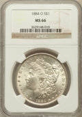 Morgan Dollars: , 1884-O $1 MS66 NGC. NGC Census: (1825/107). PCGS Population(1256/70). Mintage: 9,730,000. Numismedia Wsl. Price for proble...