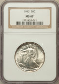 Walking Liberty Half Dollars: , 1943 50C MS67 NGC. NGC Census: (517/15). PCGS Population (371/6).Mintage: 53,190,000. Numismedia Wsl. Price for problem fr...