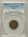 Indian Cents: , 1909-S 1C VF20 PCGS. PCGS Population (295/2117). NGC Census:(160/1368). Mintage: 309,000. Numismedia Wsl. Price for proble...