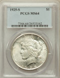 Peace Dollars: , 1925-S $1 MS64 PCGS. PCGS Population (1783/39). NGC Census:(1625/62). Mintage: 1,610,000. Numismedia Wsl. Price for proble...