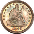 Proof Seated Quarters, 1849 25C PR65 PCGS. CAC....