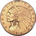Indian Quarter Eagles, 1914 $2 1/2 MS64 NGC. CAC....