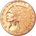 Indian Quarter Eagles, 1910 $2 1/2 MS65+ PCGS. CAC....