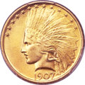 Indian Eagles, 1907 $10 No Periods MS65+ PCGS. CAC....