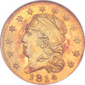 Early Half Eagles, 1814/3 $5 MS61 NGC. CAC. BD-1, High R.4....