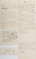 Autographs:Artists, George Cruikshank (1792-1878), British Caricaturist and Illustrator, Clipped Signatures and Notes on Drawing Ideas. Two clip...
