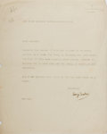 """Autographs:Authors, George Barker (1913-1991), English Poet Typed Letter Signed""""George Barker"""". One page, 8"""" x 10"""", London, February 1,[no..."""