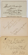 Autographs:Celebrities, [Stage Actors and Singers] Signatures of Early 20th Century Actorsand Musicians including Donald Brian (Irish stage star), ...