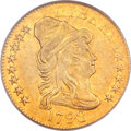 Early Half Eagles, 1798 $5 Large Eagle, Large 8, 13 Star Reverse AU53 PCGS. CAC. BD-5, R.5....