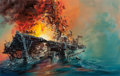Pulp, Pulp-like, Digests, and Paperback Art, JOHN CONRAD BERKEY (American, 1932-2008). Explosion on Board,Literary Guild story illustration. Casein and acrylic on b...