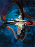 Pulp, Pulp-like, Digests, and Paperback Art, JOHN CONRAD BERKEY (American, 1932-2008). The PeculiarEnigma, 1994. Casein and acrylic on board. 23.5 x 17.25 in.(imag...