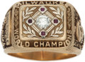 Baseball Collectibles:Others, 1957 Milwaukee Braves World Championship Ring Presented to Johnny Riddle....