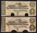 Confederate Notes:1862 Issues, Paper Color Pair T53 $5 1862.. ... (Total: 2 notes)