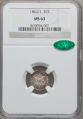 Three Cent Silver: , 1862/1 3CS MS63 NGC. CAC. NGC Census: (36/213). PCGS Population(63/253). Mintage: 343,000. Numismedia Wsl. Price for probl...