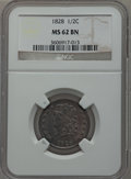 Half Cents: , 1828 1/2 C 13 Stars MS62 Brown NGC. NGC Census: (123/230). PCGSPopulation (52/183). Mintage: 606,000. Numismedia Wsl. Pric...