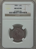 Half Cents: , 1809 1/2 C MS62 Brown NGC. NGC Census: (31/40). PCGS Population(14/35). Mintage: 1,154,572. Numismedia Wsl. Price for prob...