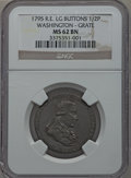 Colonials: , 1795 1/2P Washington Grate Halfpenny, Large Buttons, Reeded EdgeMS62 Brown NGC. NGC Census: (10/25). PCGS Population (43/7...