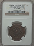Colonials: , 1783 COPPER Nova Constellatio Copper, Pointed Rays, Small US XF45NGC. NGC Census: (9/16). PCGS Population (22/58). ...