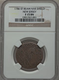 Colonials: , 1786 COPPER New Jersey Copper, Narrow Shield Fine 15 NGC. NGCCensus: (3/52). PCGS Population (24/144). ...