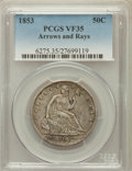 Seated Half Dollars: , 1853 50C Arrows and Rays VF35 PCGS. PCGS Population (68/1002). NGCCensus: (25/961). Mintage: 3,532,708. Numismedia Wsl. Pr...