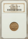Flying Eagle Cents: , 1857 1C MS63 NGC. NGC Census: (516/1129). PCGS Population(781/1165). Mintage: 17,450,000. Numismedia Wsl. Price forproble...