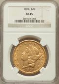 Liberty Double Eagles: , 1876 $20 XF45 NGC. NGC Census: (48/2109). PCGS Population(33/1370). Mintage: 583,905. Numismedia Wsl. Price for problemfr...