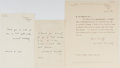 Autographs:Statesmen, Winston Churchill (1874-1965) British Statesman Lot of Three Letters With Printed Signatures, Circa 1945-1958. Various sizes...