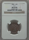 Half Cents, 1854 1/2 C C-1, B-1, R.1 MS63 Brown NGC. NGC Census: (127/177).PCGS Population (119/89). Mintage: 55,358. Numismedia Wsl. ...
